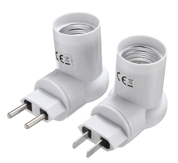 EU 2-pin plug / USA plug to E27 pir light sensor socket