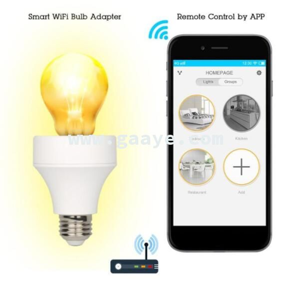 WiFi Smart Light Bulb Adapter Lamp Holder Convenient APP Remote Control Bulbs Adapter