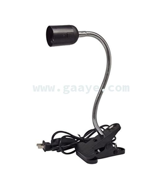 US Plug Flexible Aluminium Wire Neck with On/Off Switch For E26/E27 Socket Desk Lamp Clip Holder Black