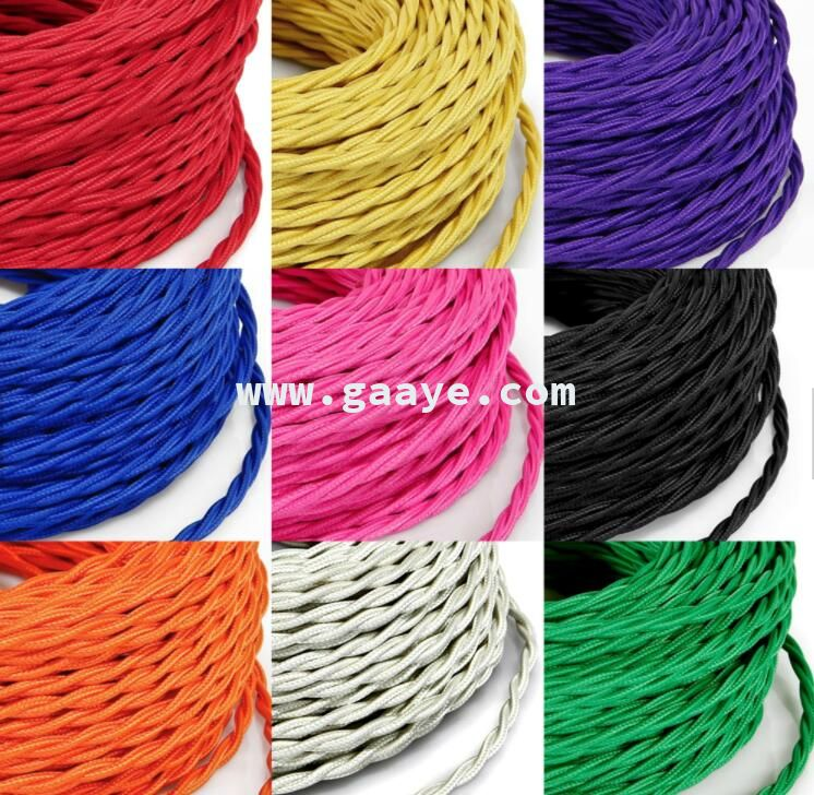 Decorative Lighting Accessories Electrical Fabric Cable Cotton Textile Cable Twisted 2/3 Core Braided Electrical Wire Cord