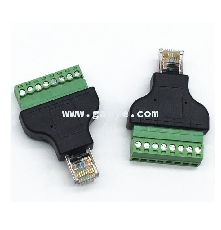 RJ45 Plug to AV 8Pin Screw Terminal Adapter Block Converter