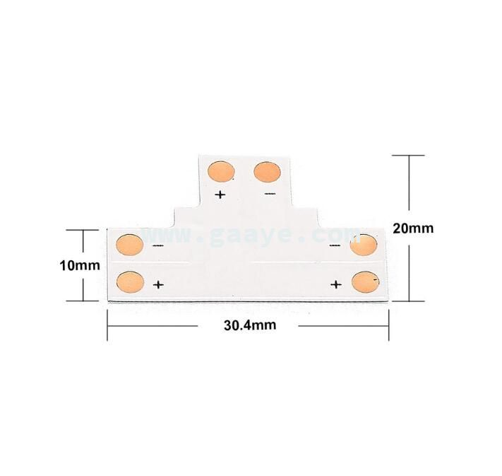 LED Strip 10mm 2 Pin Cross L T Shape Connectors For SMD 5050 5630 Single Color LED Strip Light