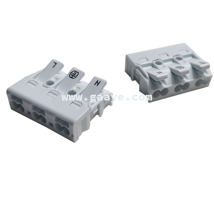 3-pin push luminaire pushwire connector quick terminal wire connector