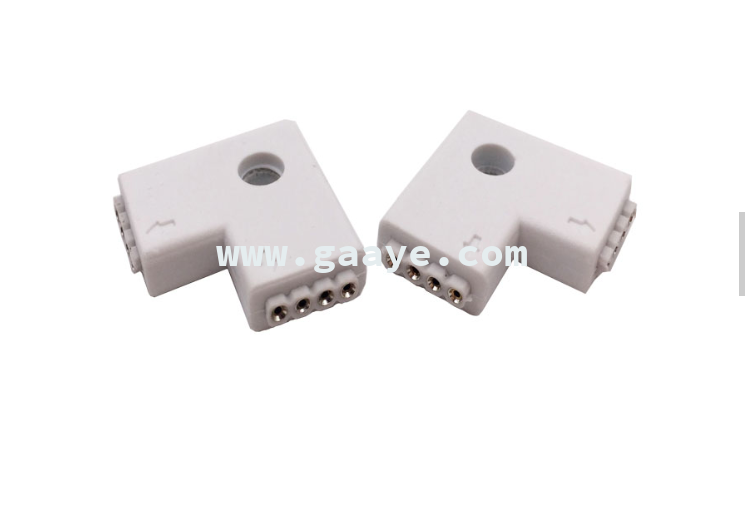 Best selling 5050 RGB L shape 4pin Corner Splitter Connector
