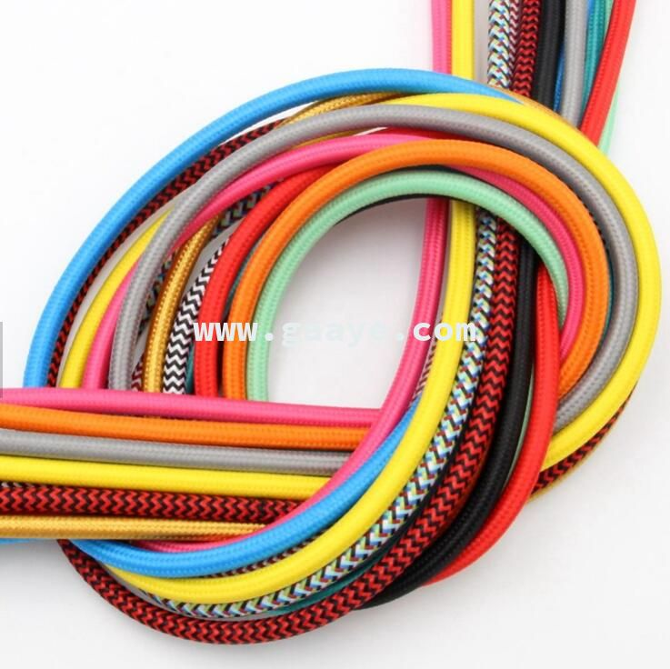 CE VDE SAA 2 Core Electrical Textile Wire Fabric Braid Cable