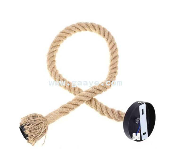 E27 Socket 1M Hemp Rope Pendant Lamp holder Set with Single Head for Home Decoration