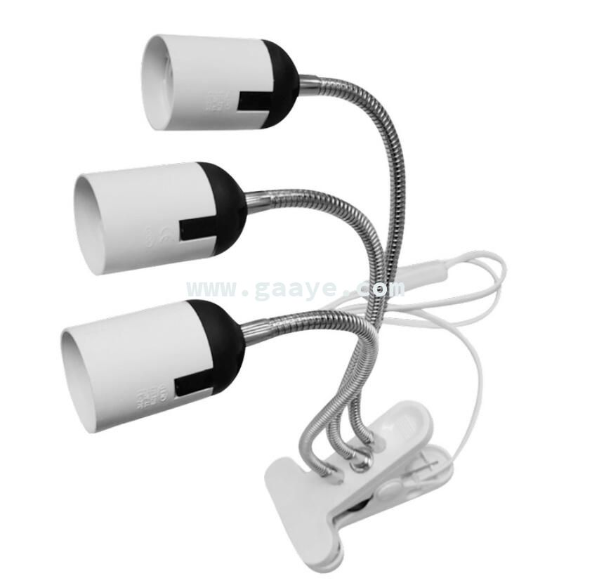 New three-head universal gooseneck lamp holder clip led plant fill light lamp holder E27 screw lamp holder table lamp hose
